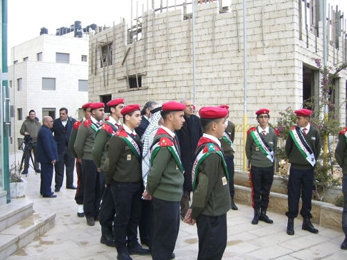Palestinian scouts outside the hotel in Ramallah